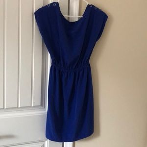 Blue short, flowy dress